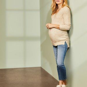 THYME | MaternityCream V Neck Ribbed  Sweater SM